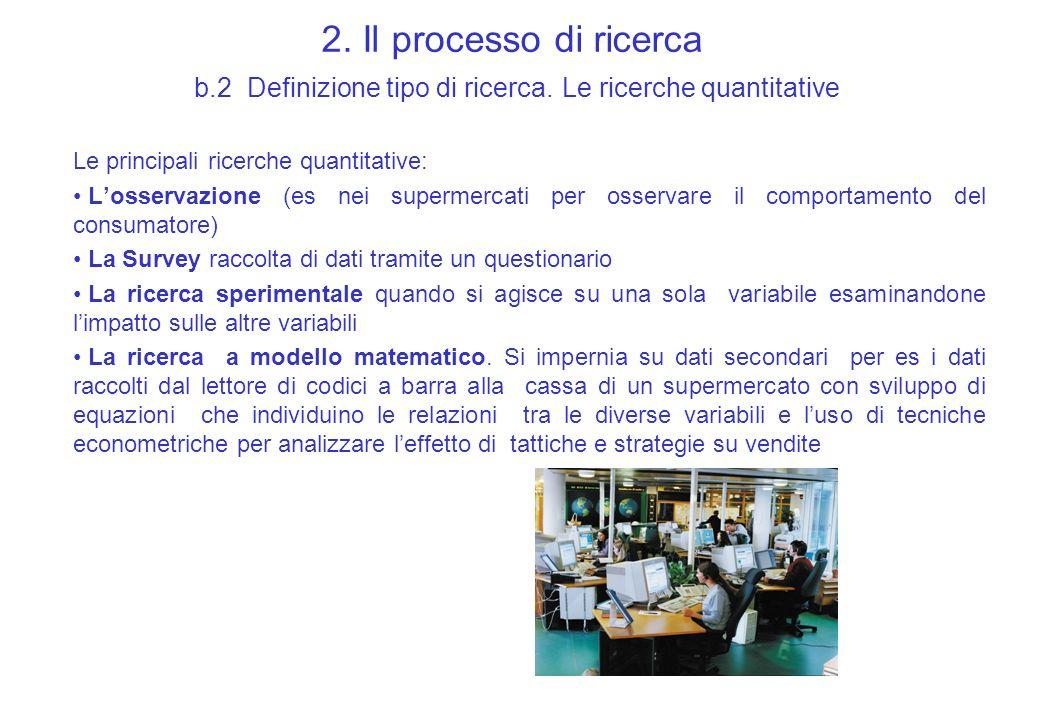 2. Il processo di ricerca b.2 Definizione tipo di ricerca. Le ricerche quantitative Le principali ricerche quantitative: Losservazione (es nei superme