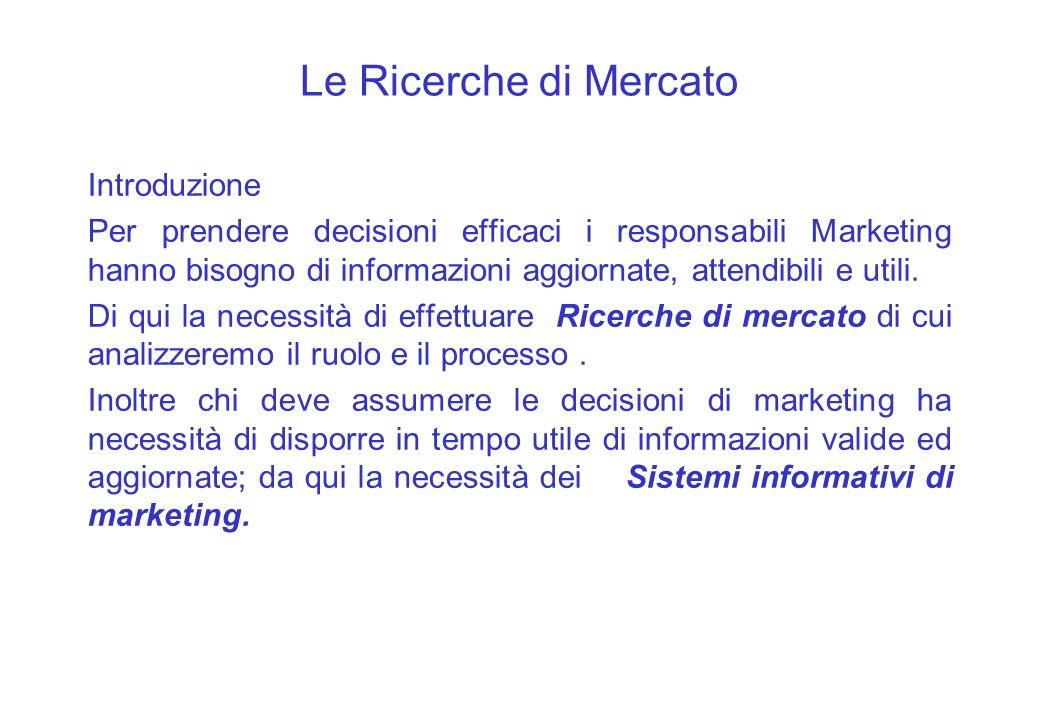 Le Ricerche di Mercato Introduzione Per prendere decisioni efficaci i responsabili Marketing hanno bisogno di informazioni aggiornate, attendibili e u