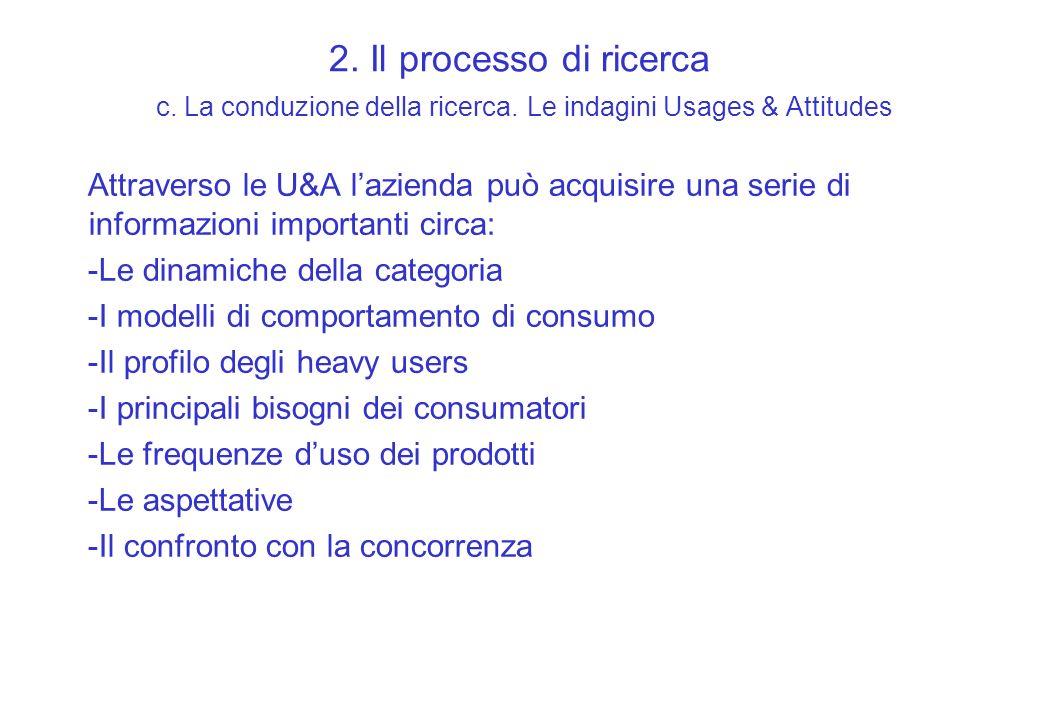 2. Il processo di ricerca c. La conduzione della ricerca. Le indagini Usages & Attitudes Attraverso le U&A lazienda può acquisire una serie di informa