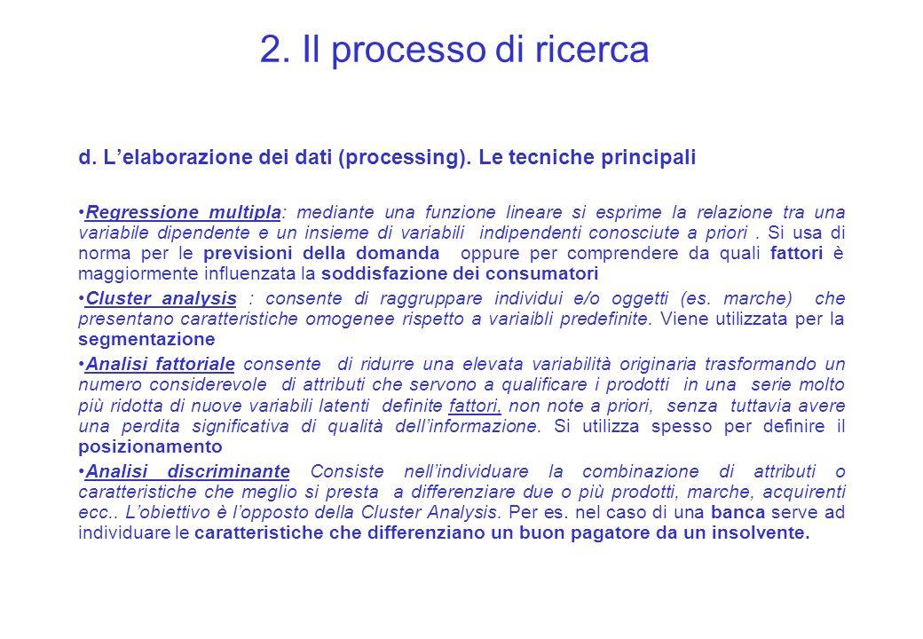 2. Il processo di ricerca d. Lelaborazione dei dati (processing). Le tecniche principali Regressione multipla: mediante una funzione lineare si esprim