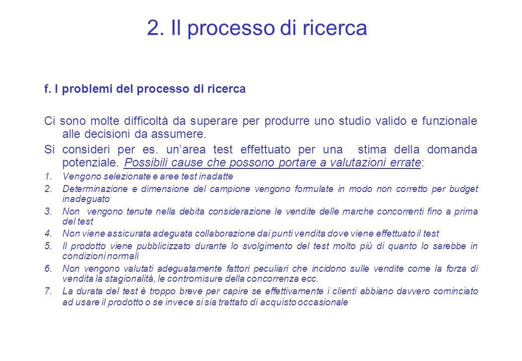 2. Il processo di ricerca f. I problemi del processo di ricerca Ci sono molte difficoltà da superare per produrre uno studio valido e funzionale alle