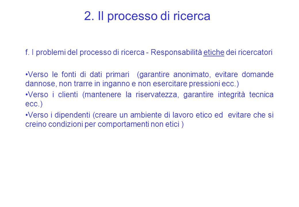 2. Il processo di ricerca f. I problemi del processo di ricerca - Responsabilità etiche dei ricercatori Verso le fonti di dati primari (garantire anon