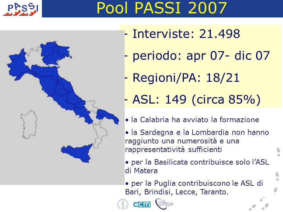 - Interviste: 21.498 - periodo: apr 07- dic 07 - Regioni/PA: 18/21 - ASL: 149 (circa 85%) la Calabria ha avviato la formazione la Sardegna e la Lombardia non hanno raggiunto una numerosità e una rappresentatività sufficienti per la Basilicata contribuisce solo lASL di Matera per la Puglia contribuiscono le ASL di Bari, Brindisi, Lecce, Taranto.