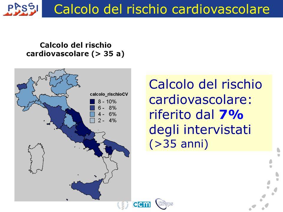 Calcolo del rischio cardiovascolare Calcolo del rischio cardiovascolare: riferito dal 7% degli intervistati (>35 anni) Calcolo del rischio cardiovascolare (> 35 a)