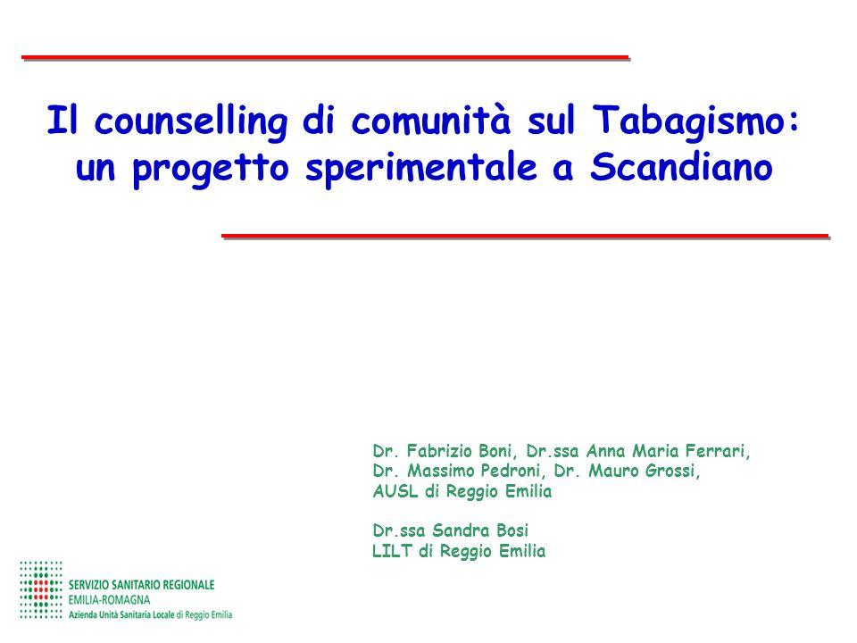Il counselling di comunità sul Tabagismo: un progetto sperimentale a Scandiano Dr. Fabrizio Boni, Dr.ssa Anna Maria Ferrari, Dr. Massimo Pedroni, Dr.