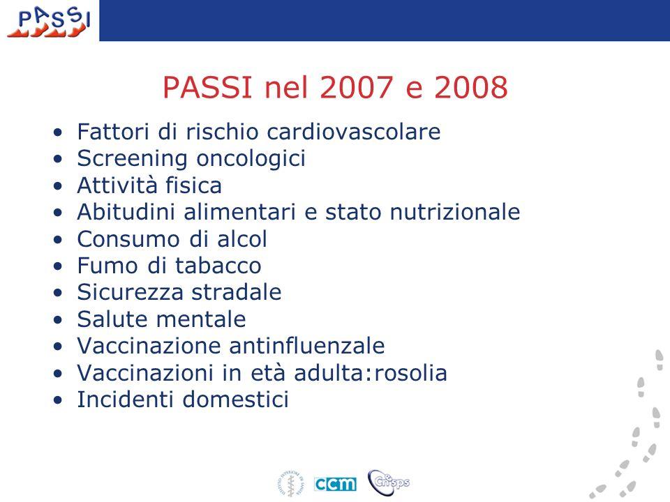 PASSI nel 2007 e 2008 Fattori di rischio cardiovascolare Screening oncologici Attività fisica Abitudini alimentari e stato nutrizionale Consumo di alcol Fumo di tabacco Sicurezza stradale Salute mentale Vaccinazione antinfluenzale Vaccinazioni in età adulta:rosolia Incidenti domestici