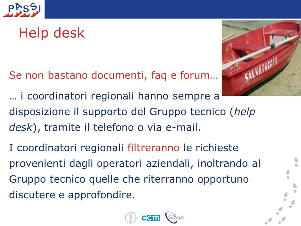 Se non bastano documenti, faq e forum… … i coordinatori regionali hanno sempre a disposizione il supporto del Gruppo tecnico (help desk), tramite il telefono o via e-mail.