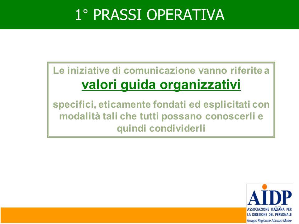 27 1° PRASSI OPERATIVA Le iniziative di comunicazione vanno riferite a valori guida organizzativi specifici, eticamente fondati ed esplicitati con mod