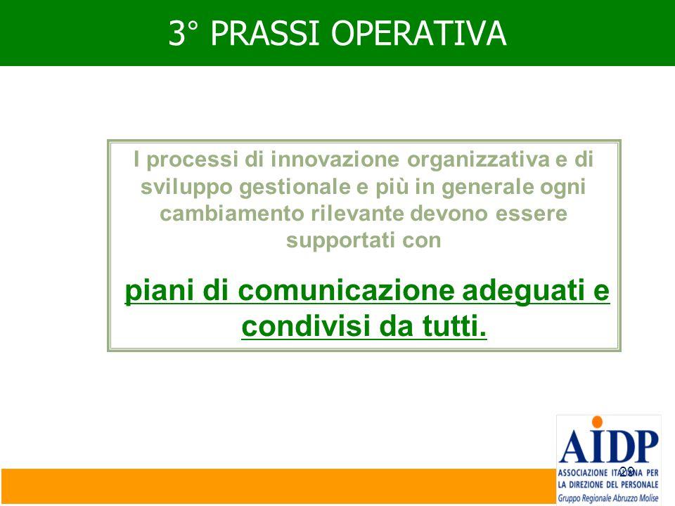 29 3° PRASSI OPERATIVA I processi di innovazione organizzativa e di sviluppo gestionale e più in generale ogni cambiamento rilevante devono essere sup