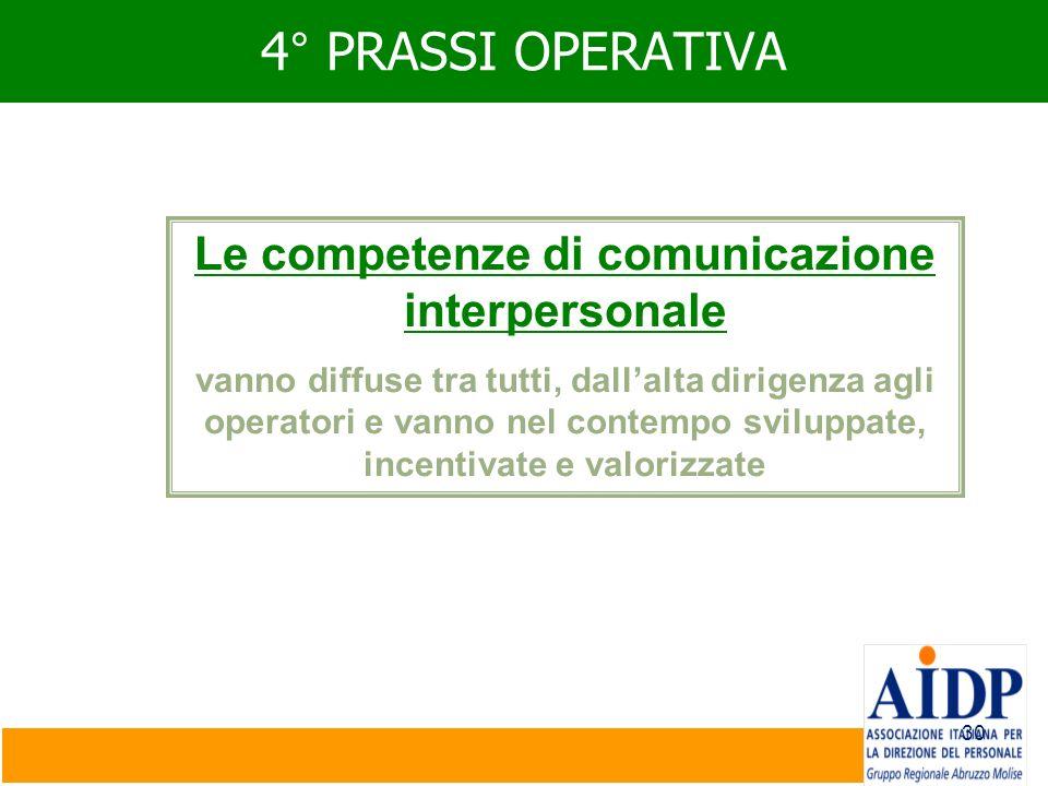 30 4° PRASSI OPERATIVA Le competenze di comunicazione interpersonale vanno diffuse tra tutti, dallalta dirigenza agli operatori e vanno nel contempo s