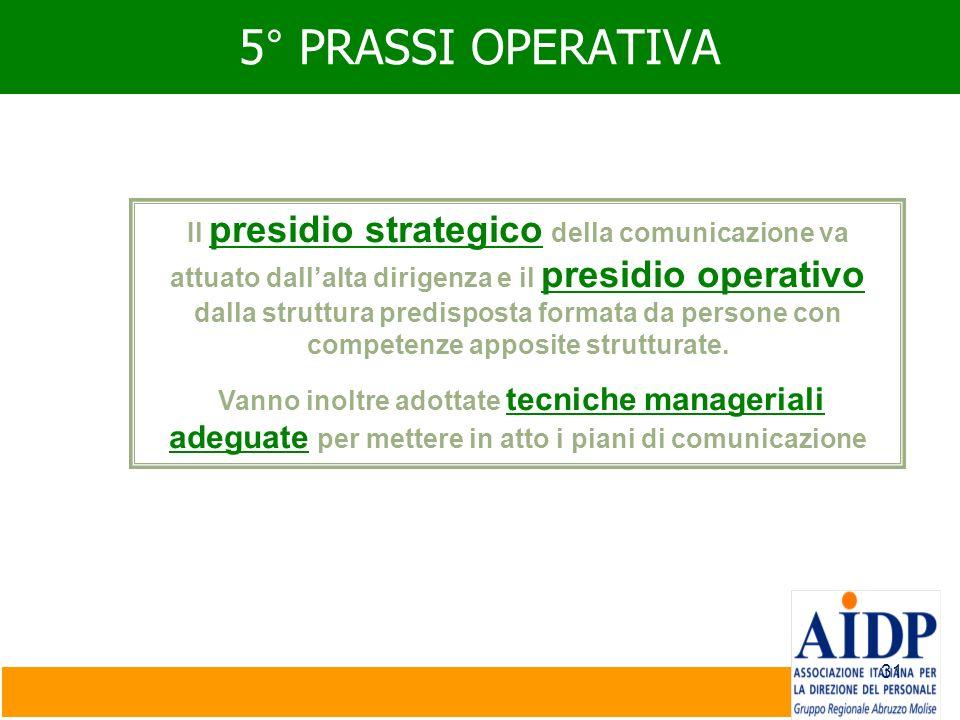 31 5° PRASSI OPERATIVA Il presidio strategico della comunicazione va attuato dallalta dirigenza e il presidio operativo dalla struttura predisposta fo