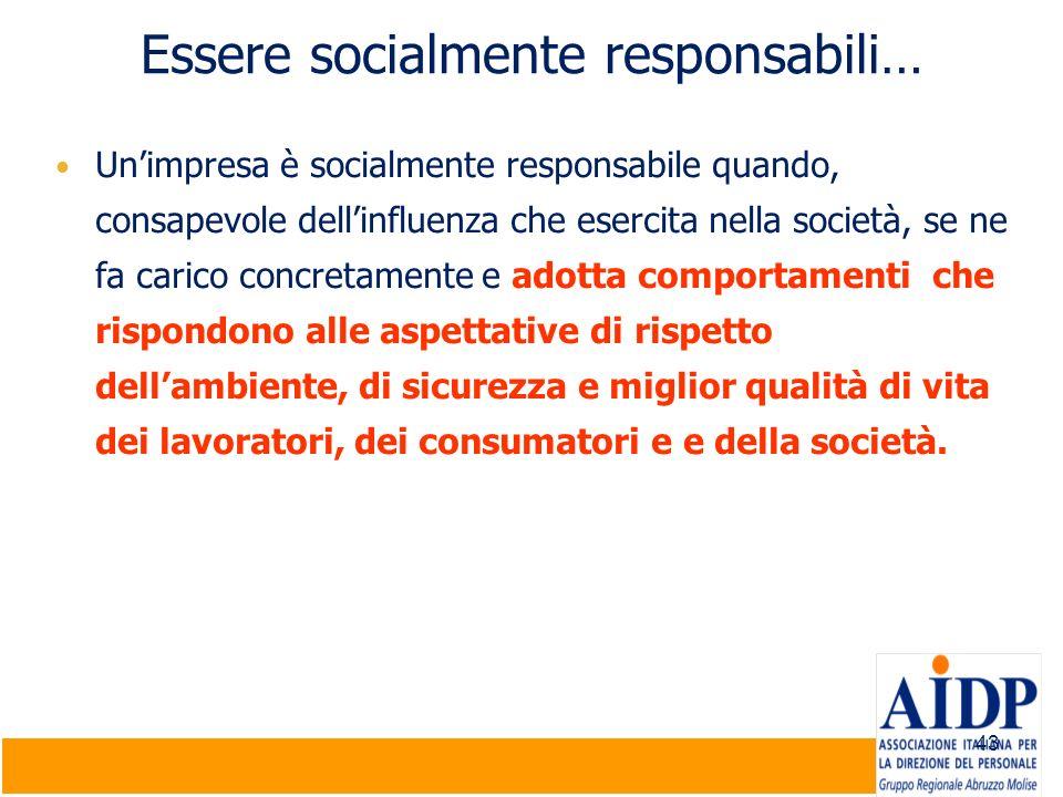 43 Essere socialmente responsabili… Unimpresa è socialmente responsabile quando, consapevole dellinfluenza che esercita nella società, se ne fa carico
