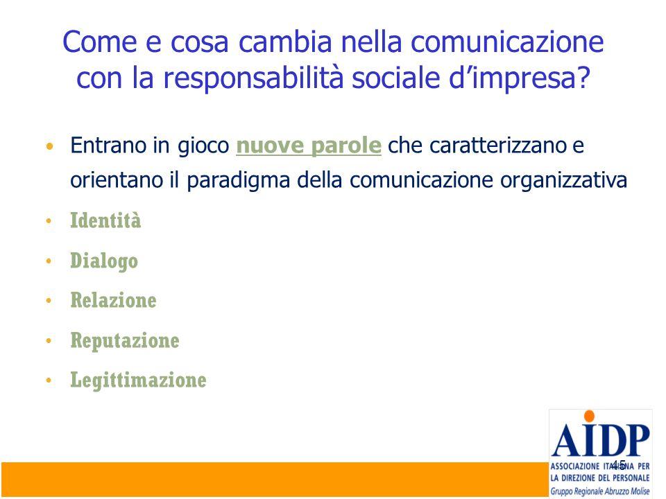 45 Come e cosa cambia nella comunicazione con la responsabilità sociale dimpresa? Entrano in gioco nuove parole che caratterizzano e orientano il para