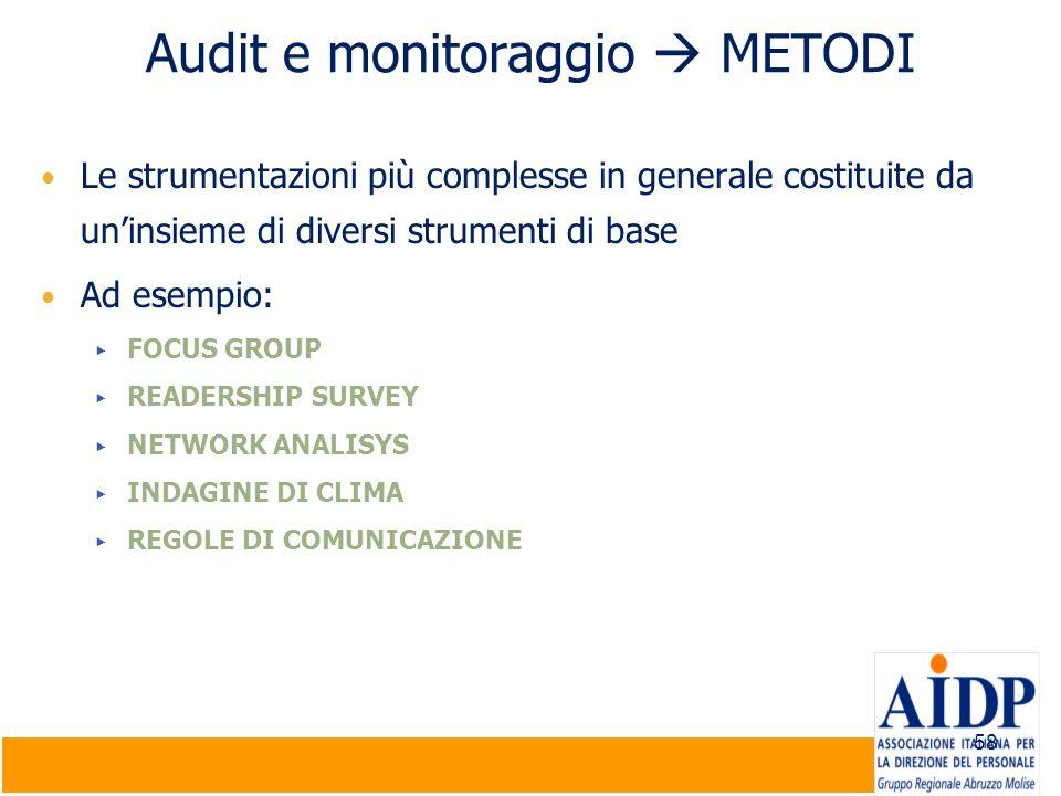58 Audit e monitoraggio METODI Le strumentazioni più complesse in generale costituite da uninsieme di diversi strumenti di base Ad esempio: FOCUS GROU