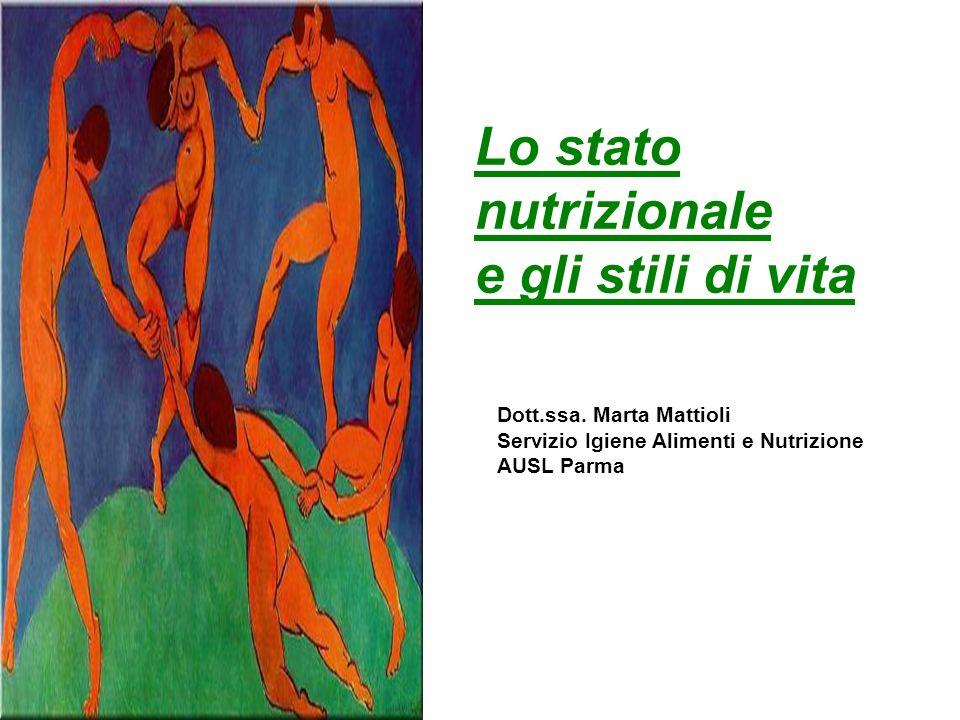 Lo stato nutrizionale e gli stili di vita Dott.ssa. Marta Mattioli Servizio Igiene Alimenti e Nutrizione AUSL Parma