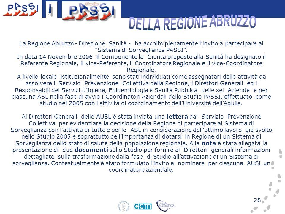 28 La Regione Abruzzo- Direzione Sanità - ha accolto pienamente linvito a partecipare al Sistema di Sorveglianza PASSI. In data 14 Novembre 2006 il Co