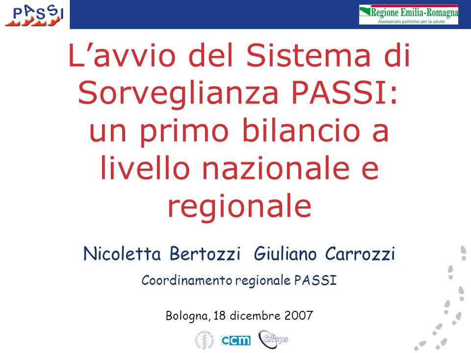 Lavvio del Sistema di Sorveglianza PASSI: un primo bilancio a livello nazionale e regionale Nicoletta Bertozzi Giuliano Carrozzi Coordinamento regionale PASSI Bologna, 18 dicembre 2007
