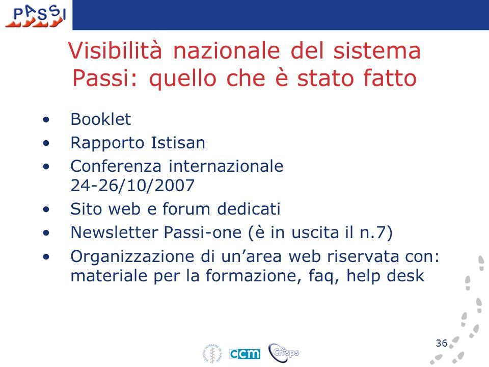36 Visibilità nazionale del sistema Passi: quello che è stato fatto Booklet Rapporto Istisan Conferenza internazionale 24-26/10/2007 Sito web e forum