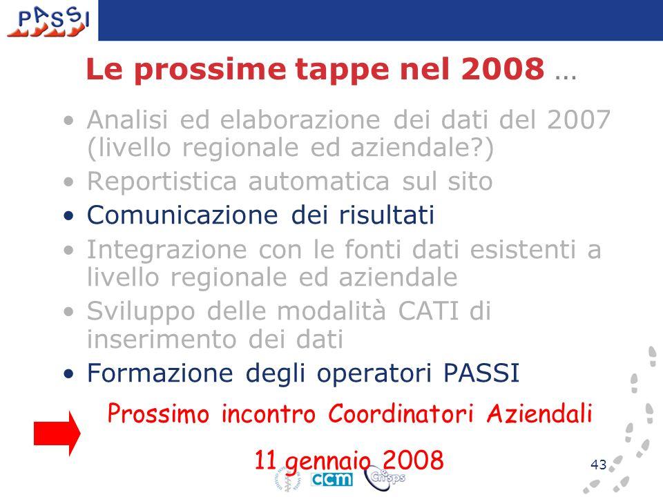 43 Le prossime tappe nel 2008 … Analisi ed elaborazione dei dati del 2007 (livello regionale ed aziendale?) Reportistica automatica sul sito Comunicaz
