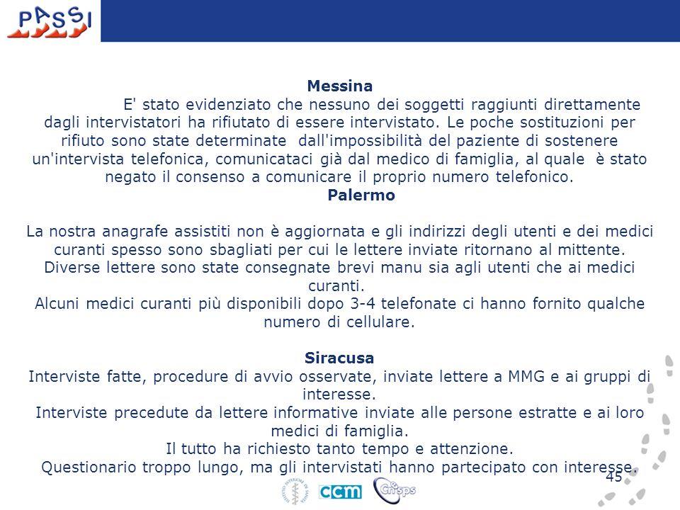 45 Messina E' stato evidenziato che nessuno dei soggetti raggiunti direttamente dagli intervistatori ha rifiutato di essere intervistato. Le poche sos
