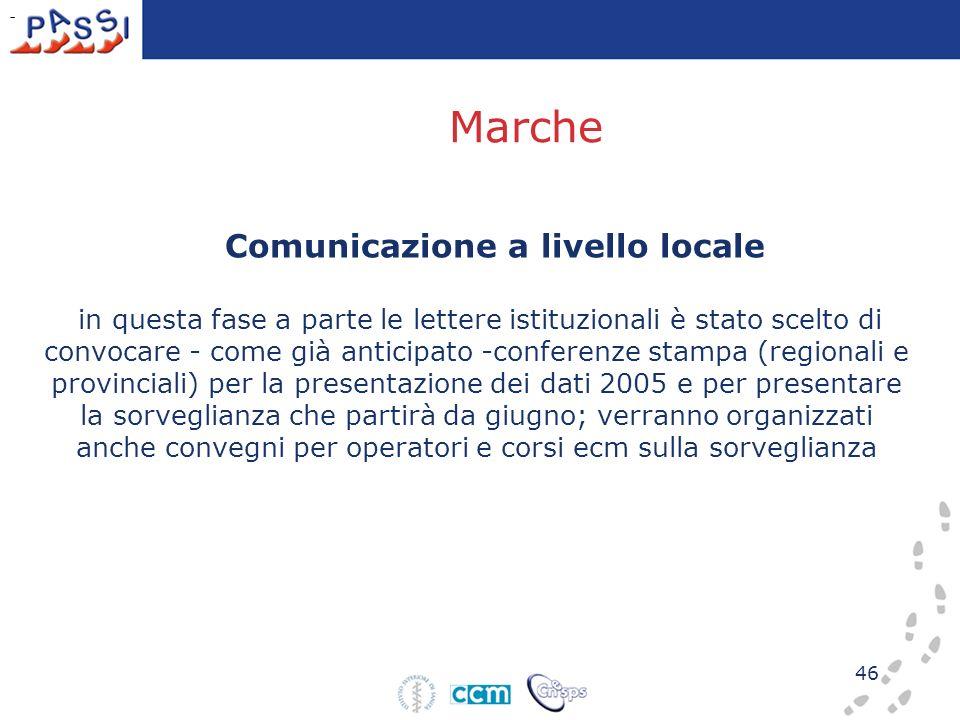 46 Comunicazione a livello locale in questa fase a parte le lettere istituzionali è stato scelto di convocare - come già anticipato -conferenze stampa
