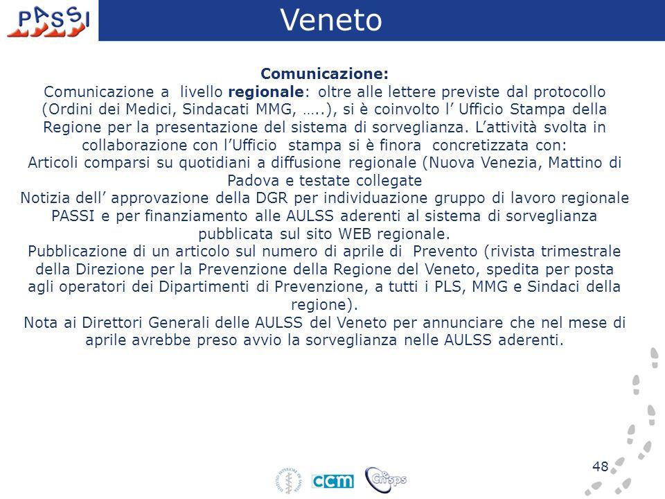48 Comunicazione: Comunicazione a livello regionale: oltre alle lettere previste dal protocollo (Ordini dei Medici, Sindacati MMG, …..), si è coinvolt