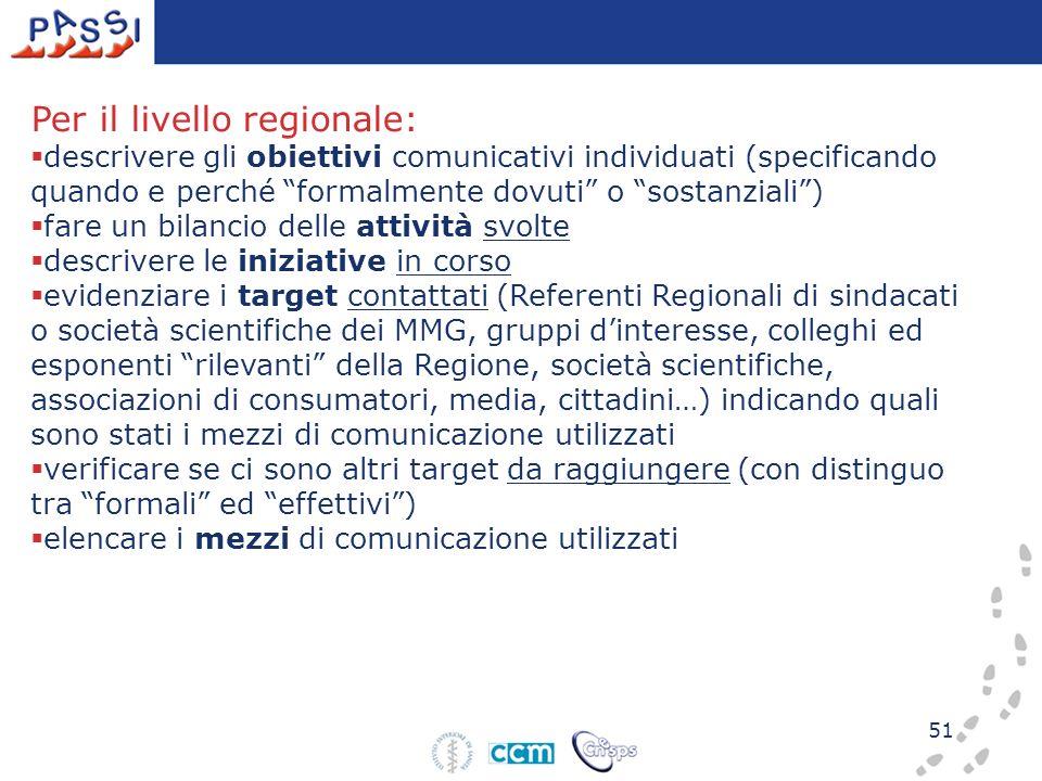 51 Per il livello regionale: descrivere gli obiettivi comunicativi individuati (specificando quando e perché formalmente dovuti o sostanziali) fare un