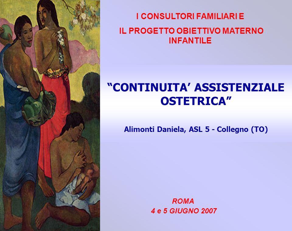 CONTINUITA ASSISTENZIALE OSTETRICA Alimonti Daniela, ASL 5 - Collegno (TO) I CONSULTORI FAMILIARI E IL PROGETTO OBIETTIVO MATERNO INFANTILE ROMA 4 e 5