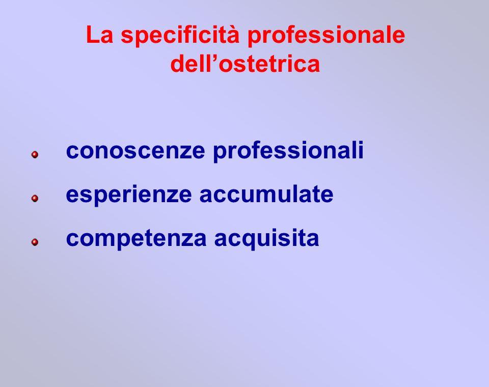 conoscenze professionali esperienze accumulate competenza acquisita La specificità professionale dellostetrica