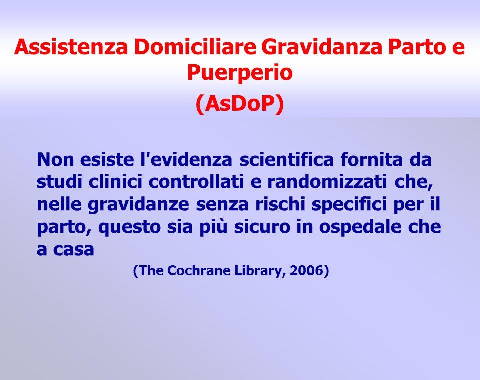 Assistenza Domiciliare Gravidanza Parto e Puerperio (AsDoP) Non esiste l'evidenza scientifica fornita da studi clinici controllati e randomizzati che,