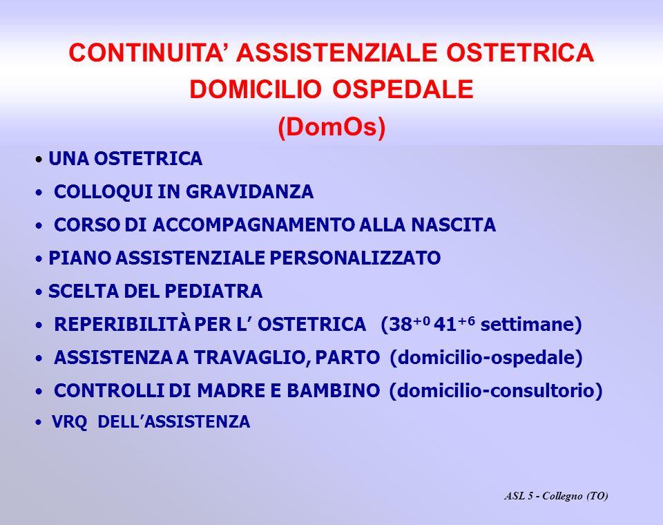 CONTINUITA ASSISTENZIALE OSTETRICA DOMICILIO OSPEDALE (DomOs) UNA OSTETRICA COLLOQUI IN GRAVIDANZA CORSO DI ACCOMPAGNAMENTO ALLA NASCITA PIANO ASSISTE