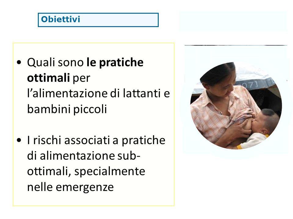 Obiettivi Quali sono le pratiche ottimali per lalimentazione di lattanti e bambini piccoli I rischi associati a pratiche di alimentazione sub- ottimal