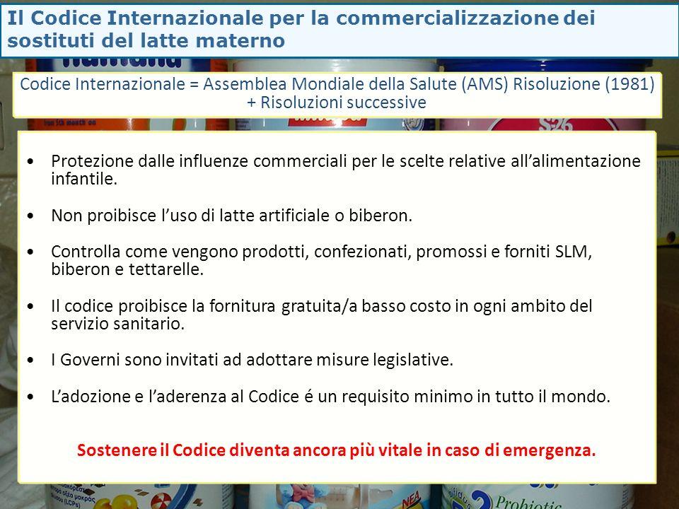 Il Codice Internazionale per la commercializzazione dei sostituti del latte materno Protezione dalle influenze commerciali per le scelte relative alla