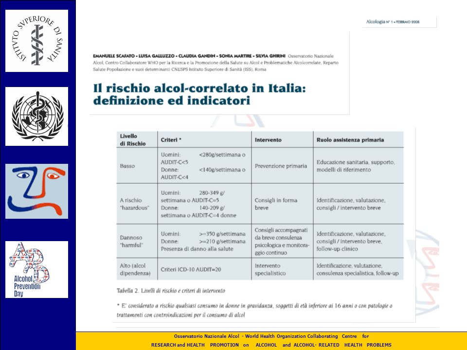 Osservatorio Nazionale Alcol - World Health Organization Collaborating Centre for RESEARCH and HEALTH PROMOTION on ALCOHOL and ALCOHOL- RELATED HEALTH PROBLEMS WHO Phase IV E.I.B.I- ISS – SIA Lesperienza Italiana in Primary Health Care