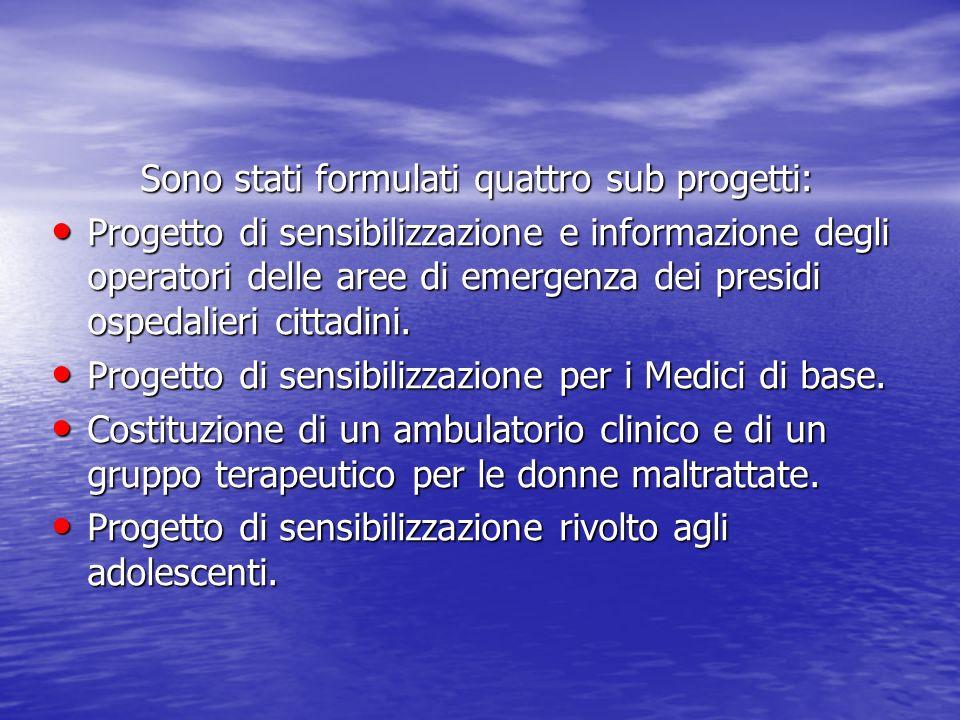 Sono stati formulati quattro sub progetti: Progetto di sensibilizzazione e informazione degli operatori delle aree di emergenza dei presidi ospedalier