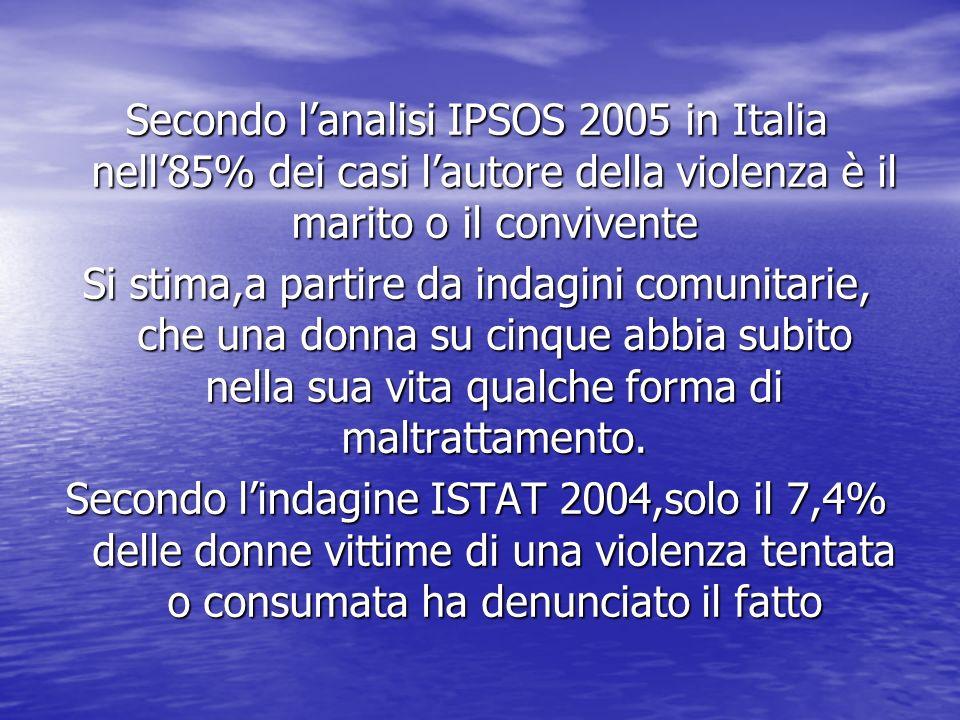Secondo lanalisi IPSOS 2005 in Italia nell85% dei casi lautore della violenza è il marito o il convivente Si stima,a partire da indagini comunitarie,