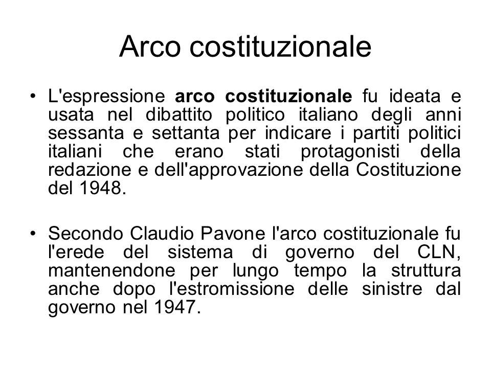 Arco costituzionale L'espressione arco costituzionale fu ideata e usata nel dibattito politico italiano degli anni sessanta e settanta per indicare i