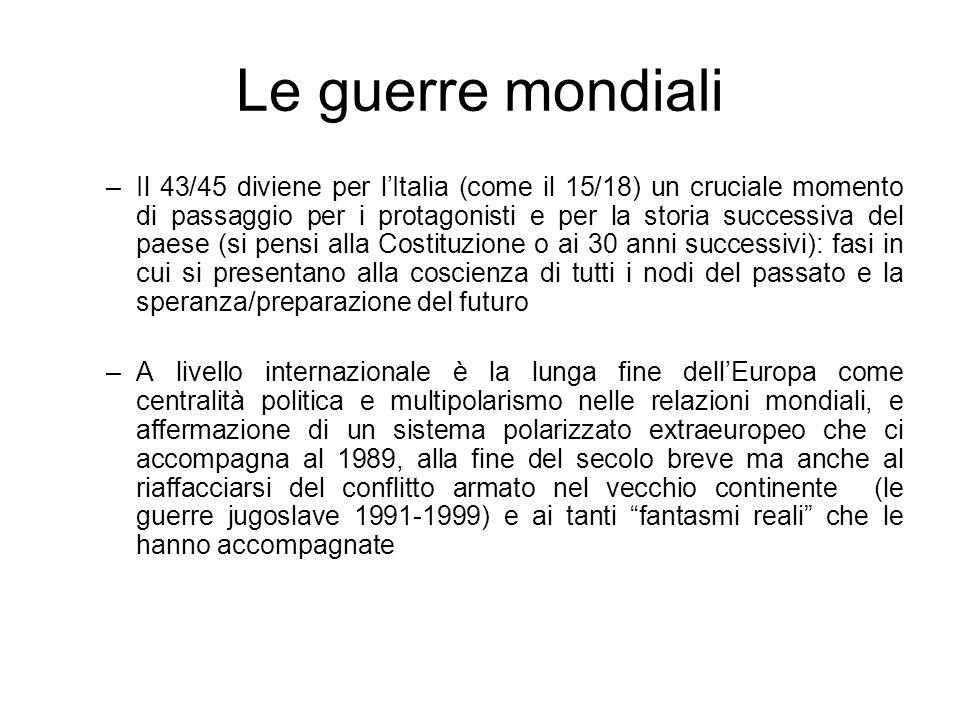 Le guerre mondiali –Il 43/45 diviene per lItalia (come il 15/18) un cruciale momento di passaggio per i protagonisti e per la storia successiva del pa