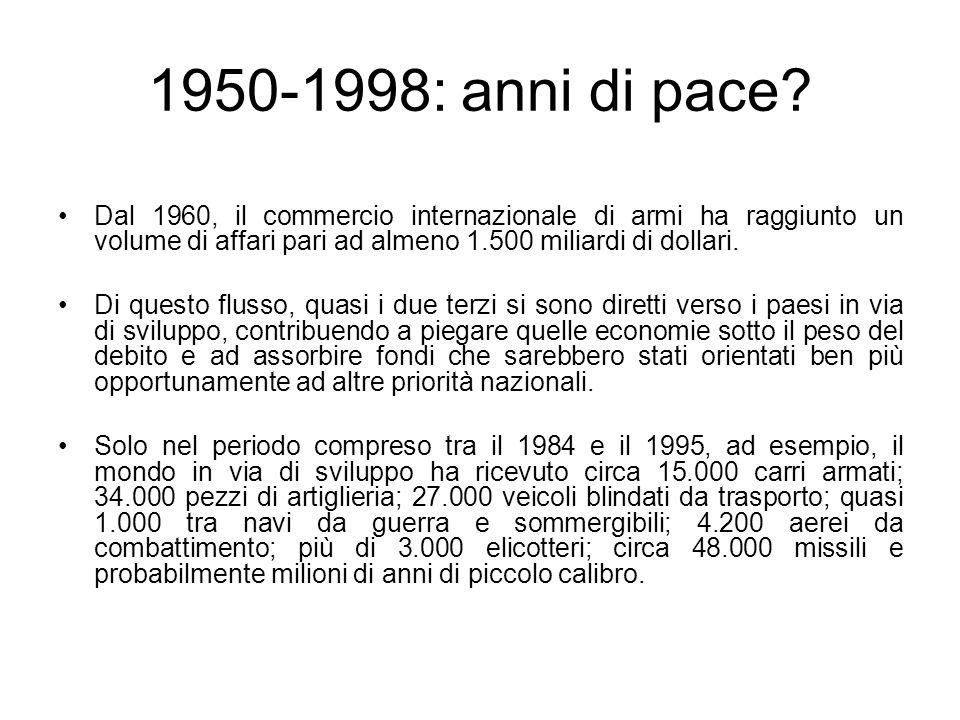 1950-1998: anni di pace? Dal 1960, il commercio internazionale di armi ha raggiunto un volume di affari pari ad almeno 1.500 miliardi di dollari. Di q