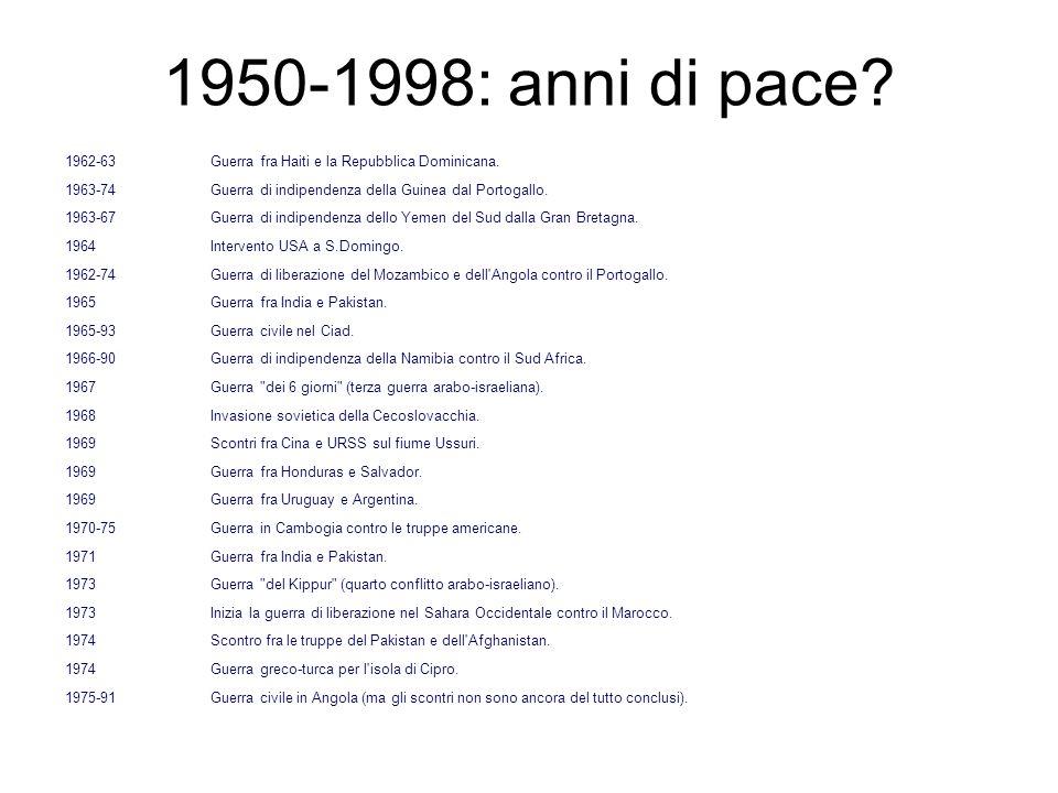 1950-1998: anni di pace? 1962-63Guerra fra Haiti e la Repubblica Dominicana. 1963-74Guerra di indipendenza della Guinea dal Portogallo. 1963-67 Guerra