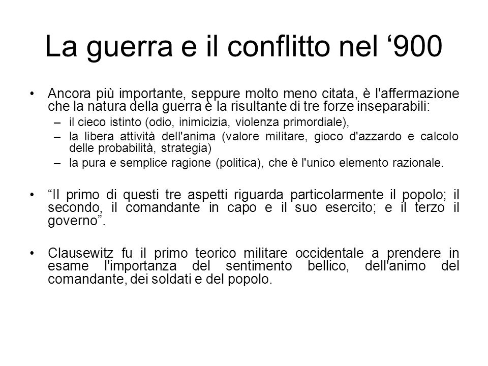 La guerra e il conflitto nel 900 Morti per guerre Su 1.000 persone 0 – 14993.700.000 1500 – 15991.600.0003,2 1600 – 16996.100.00011,2 1700 – 17997.000.0009,7 1800 – 189919.000.00016,2 1900 – 1995109.700.00044,4 Fonte: William Eckhardt, War-related Deaths Since 3000 BC, Bulletin of peace proposals, December 1991 – Ruth Leger Sivard, World Military and Social Expenditures,1996, Washington.
