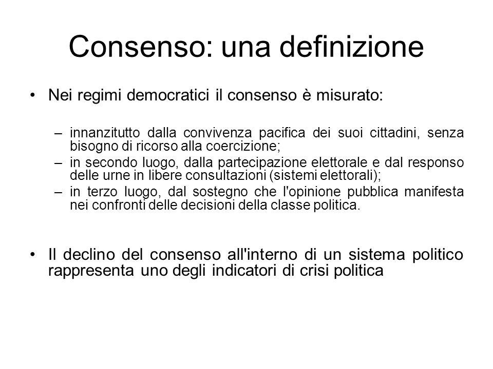 Consenso: una definizione Nei regimi democratici il consenso è misurato: –innanzitutto dalla convivenza pacifica dei suoi cittadini, senza bisogno di