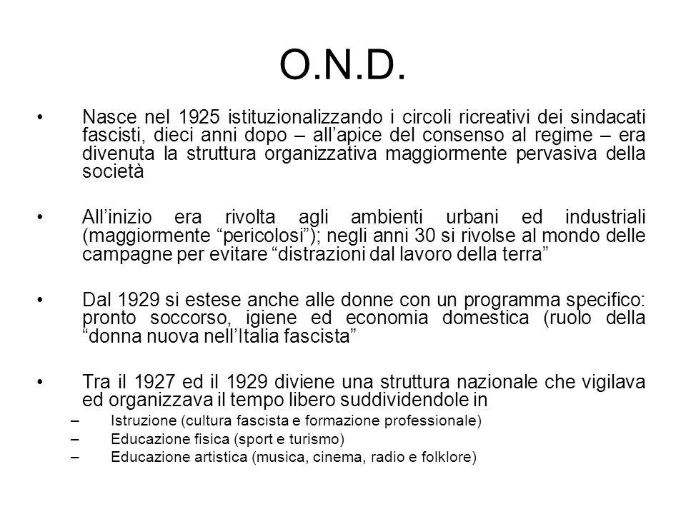 O.N.D. Nasce nel 1925 istituzionalizzando i circoli ricreativi dei sindacati fascisti, dieci anni dopo – allapice del consenso al regime – era divenut