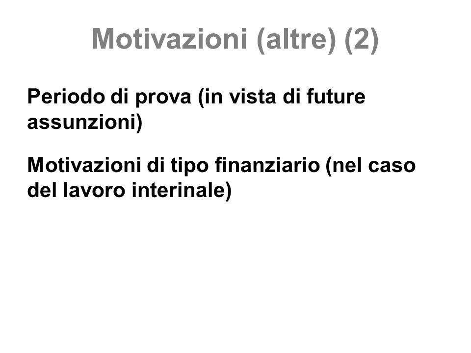 Motivazioni (altre) (2) Periodo di prova (in vista di future assunzioni) Motivazioni di tipo finanziario (nel caso del lavoro interinale)