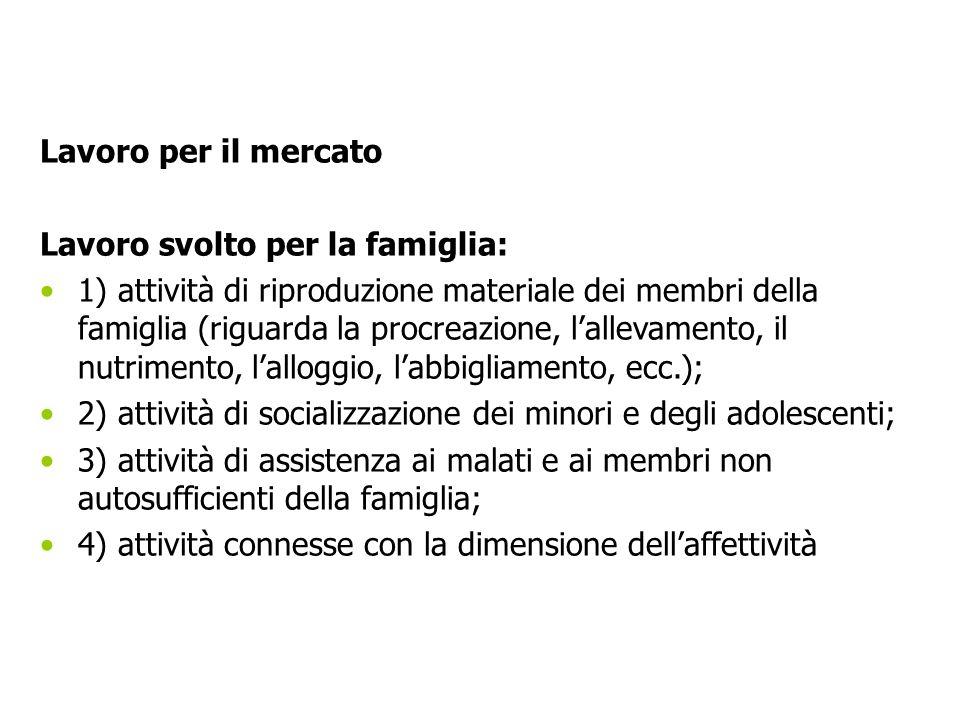 Lavoro per il mercato Lavoro svolto per la famiglia: 1) attività di riproduzione materiale dei membri della famiglia (riguarda la procreazione, lallev