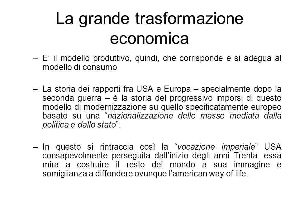 La grande trasformazione economica –E il modello produttivo, quindi, che corrisponde e si adegua al modello di consumo –La storia dei rapporti fra USA