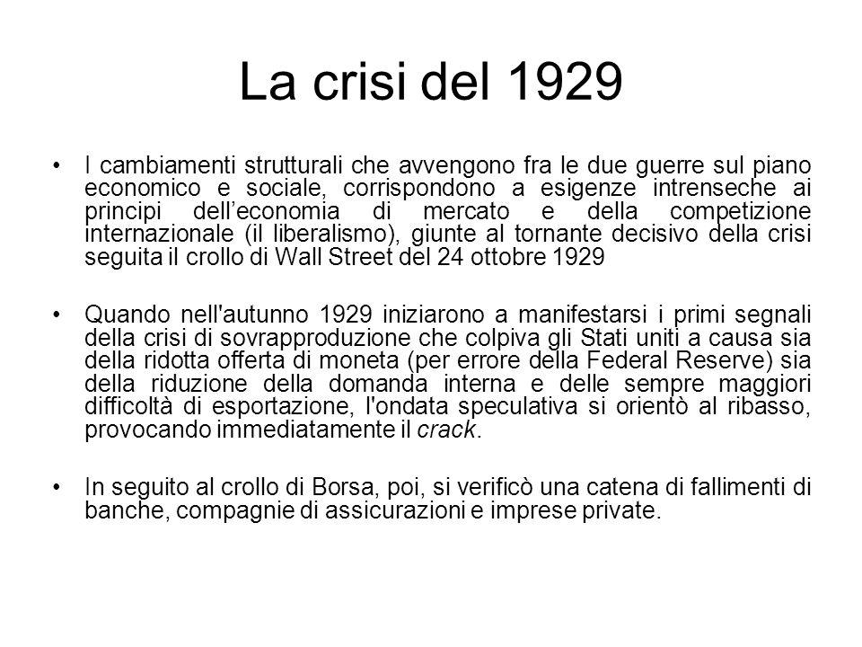 La crisi del 1929 I cambiamenti strutturali che avvengono fra le due guerre sul piano economico e sociale, corrispondono a esigenze intrenseche ai pri