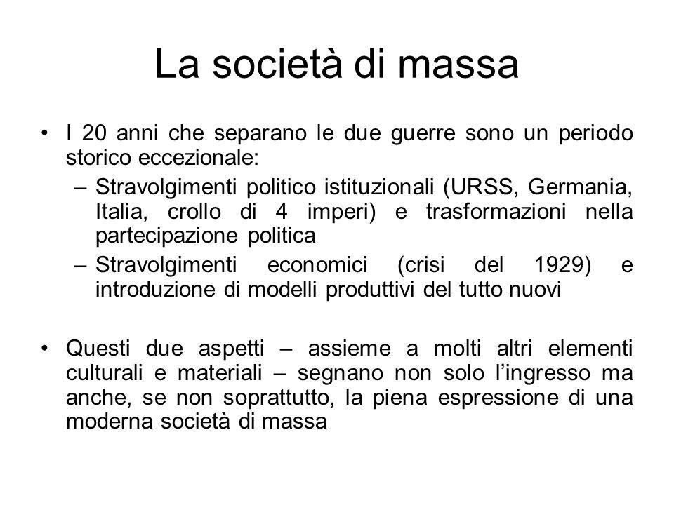 La società di massa I 20 anni che separano le due guerre sono un periodo storico eccezionale: –Stravolgimenti politico istituzionali (URSS, Germania,