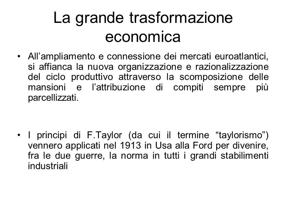 La grande trasformazione economica Allampliamento e connessione dei mercati euroatlantici, si affianca la nuova organizzazione e razionalizzazione del