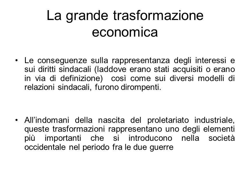 La grande trasformazione economica Le conseguenze sulla rappresentanza degli interessi e sui diritti sindacali (laddove erano stati acquisiti o erano in via di definizione) così come sui diversi modelli di relazioni sindacali, furono dirompenti.